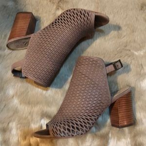 Badesti Taupe Laser Cut Open Toe Ankle Bootie Heel